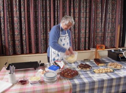 Making the pancakes.